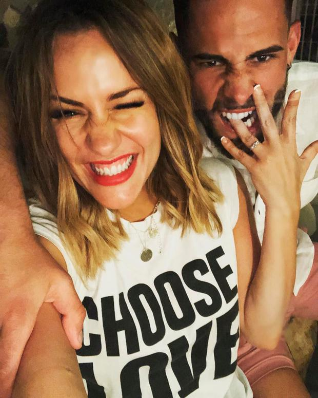 SUNDAY LIFE NEWS - Sinead Hegarty - Pictured Caroline Flack with Andrew Brady announcing their engagement. They have since split.