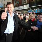 Hollywood actor Liam Neeson, is welcomed by well-wishers to Ballymena town centre, in Co Antrim, his home town, where he was granted Freedom of the Borough.