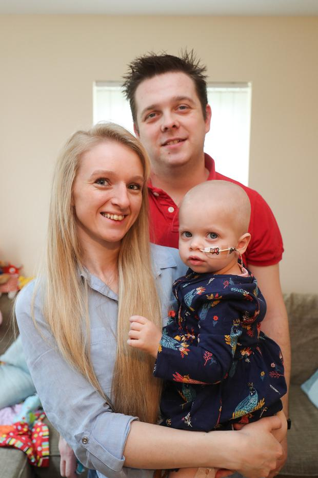 Evie Latewood from Portadown, alongside parents Nathalie and Dyllan