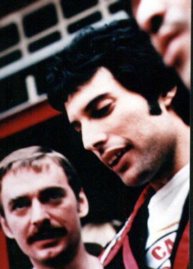 Freddie Mercury and Paul Prenter, his assistant