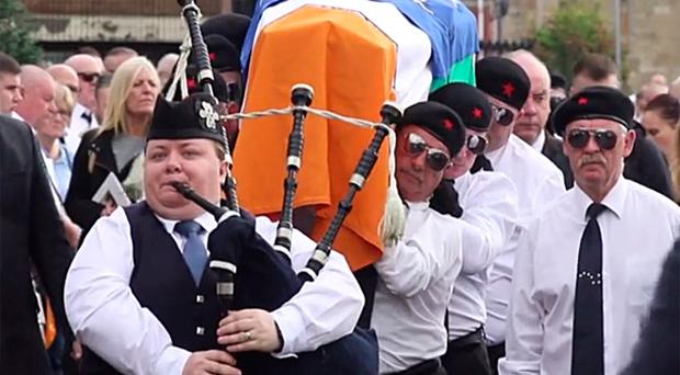 Piper Lee Lawson Irwin performing at the funeral of INLA child killer Martin McElkerney on May 23 2019.