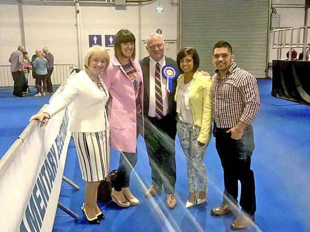 DUP's David Simpson MP with his family, wife Elaine with their children, Leagh, Kristy (2nd from right), and Steven.