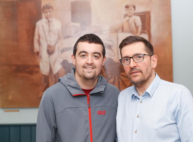Michael Cafolla with his son Thomas at their cafe Cafolla's in Newtownards. 22 year old Thomas has leukaemia and is currently in remission but has come through a very tough couple of years. Pic Colm O'Reilly 01-08-2019 Story Stephanie Bell.