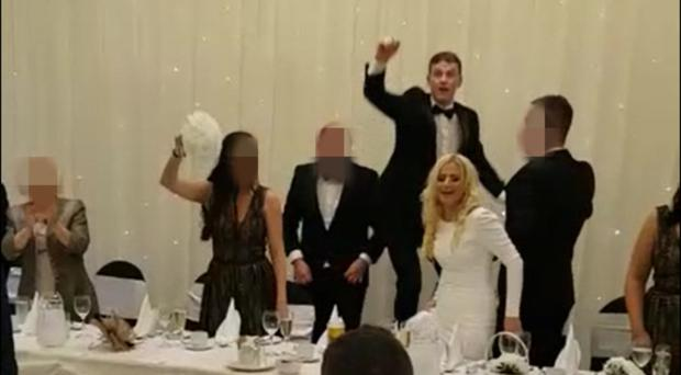 A wedding at the Loughshore Hotel in Carrickfergus where the married couple sang f**k the Pope and the IRA to Tina Turners 'Simply the best'.