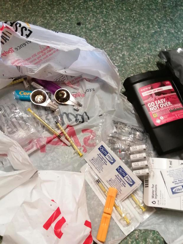 Items linked to drug use found in the vicinity
