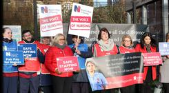 Nurses and RCN staff outside the Mater Hospital, Belfast