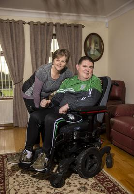 Stephen McCoy and his sister Yvonne with his specially adapted wheelchair