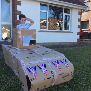 Charlie Lowe and his DIY VE Day tank