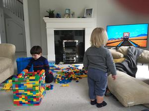 Chrissie Russell working from home with her two children Tom Breen (5) and Finn Breen (22 months)