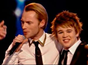 Eoghan Quigg performs with Boyzone