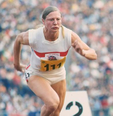 Mary Peters of Great Britain sprints away from the blocks in the 200 metres in the Pentathlon event at the 1972 Olympic Games in Munich, Germany. Peters won the gold medal. Mandatory Credit: Tony  Duffy/Allsport