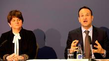 Leo Varadkar and Arlene Foster attend a press conference at the North South Ministerial Council offices in Armagh, Northern Ireland on March 14, 2020,