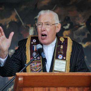 Pacemaker Belfast. 12/7/08. The Rev Ian Paisley speaks to the field at the independents Orange parade in Portglenone. Picture Charles McQuillan/Pacemaker