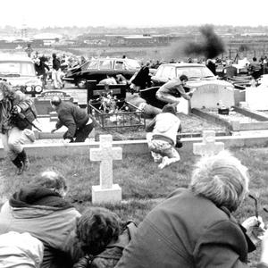 The scene of the attack at Milltown Cemetery