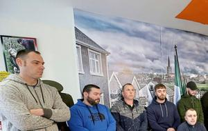 Saoradh press conference at Junior McDaid House Derry.  Left to right. Barry Millar, Thomas Mellon, Mark Canning, Jude Macrory, Hat Tiernan McFadden, (sitting) Joe Barr.