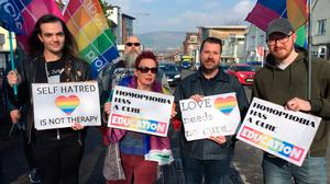 DEMONSTRATION: Campaigners for LGBT rights holding a protest outside Windsor Baptist Church in Belfast back in 2019 at a conference they branded a form of gay conversion therapy
