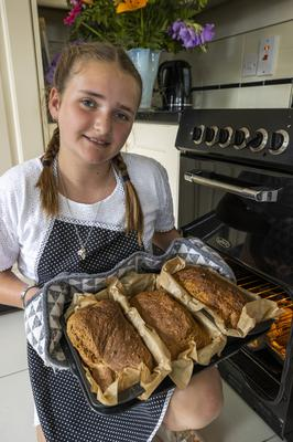 19 Aug 2020 -  Eleven-year-old Zara Burney Keatings, from Moira, has seen her home-based business Use Your Loaf grow from a few batches of bread for families and friends to several hundred to meet demands of repeat customers. (Liam McBurney/RAZORPIX)