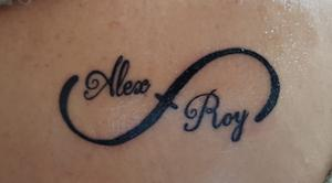 Kim Armstrong's new tattoo with the names of her two fathers