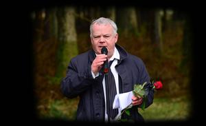 John Dallat speaking at a memorial service for Inga Maria Hauser in Ballypatrick Forest Park last year