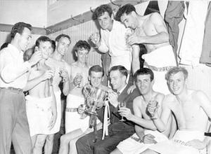 Aston Villa celebrate their long-awaited League Cup win in 1961.