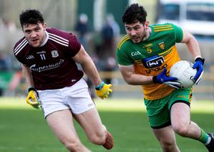 Ryan McHugh in Division One action for Donegal against Galway in February