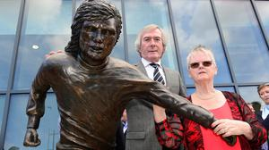 Pat Jennings and Barbara McNarry at the George Best statue