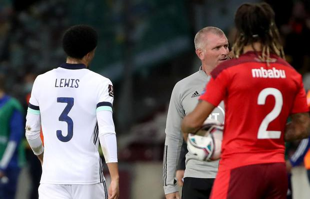 Jamal Lewis is sent off after his second yellow card during Saturday nights World Cup Qualifier against Switzerland at the Stade de Genève in Geneva.