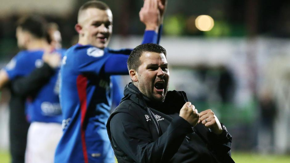 David Healy celebrates a win over Glentoran. The Linfield boss has been speaking about his playing and management career so far in a wide-ranging interview.