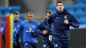 Kyle Lafferty (right) can still be a threat for Northern Ireland