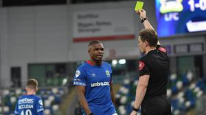 Christy Manzinga is yellow carded despite allegedly punching an opponent