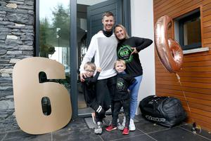 Jonathan Rea at home with his family after winning his sixth world title in a row