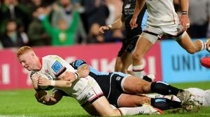 Nathan Doak goes over to score Ulster's fifth and decisive try