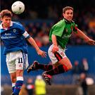 McBride in action for his beloved Glentoran, with whom he won three league titles and four Irish Cups.