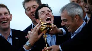 Paul McGinley celebrates Ryder Cup glory with Rory McIlroy