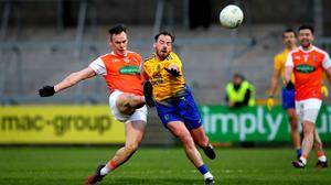 Armagh vs Roscommon Armagh's Mark Shields and Niall Kilroy of Roscommon Mandatory Credit ©INPHO/Ryan Byrne