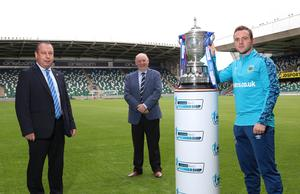 The Danske Bank Premiership Management Committee Chairman Jack Grundie (centre) oversaw the socially-distant presentation of the Gibson Cup to Linfield Chairman Roy McGivern and captain Jamie Mulgrew at Windsor Park in October after the 19/20 season was brought to a premature halt.