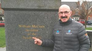 Liam Beckett at the McCrum monument