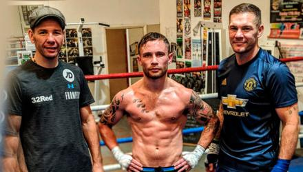 Me with my trainers Nigel Travis (left) and Jamie Moore at our gym in Manchester