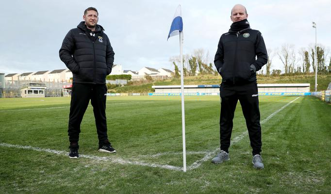 Barry Gray (right) and Kris Lindsay at Milltown after Saturday's clash between Warrenpoint Town and Dungannon Swifts was called off