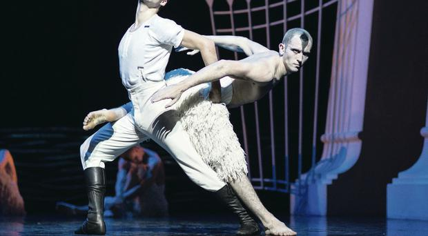 Perfect poise: Liam Mower (left) on stage in Swan Lake