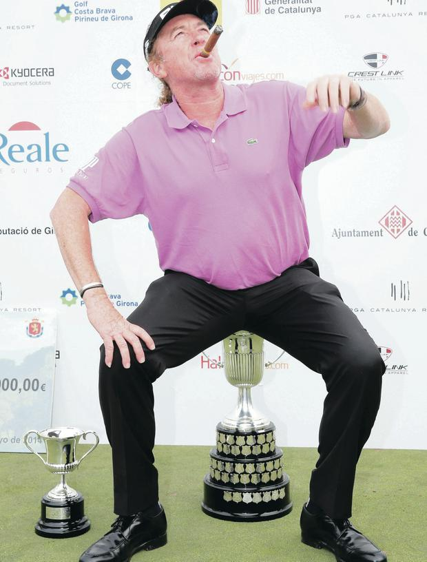 Smoking form: Miguel Angel Jimenez enjoys his Spanish Open success in Catalunya yesterday