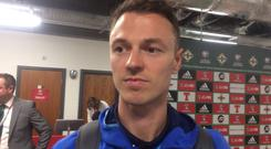 Jonny Evans talks to our reporter after Northern Ireland's win over the Czech Republic.
