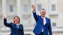 New DUP leader Edwin Poots along side his newly elected first Minister for Northern Ireland party colleauge Paula Bradley at Stormont. Picture Colm O'Reilly Belfast Telegraph 14-05-2021