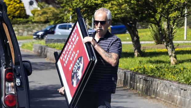 29 May 2021 - A man believed to be Ronnie Hawthorn at a business pitch for The Thirsty Herd, horse box coffee cart, at lay-by on the Dundrum Road, Clough. (Liam McBurney/RAZORPIX)  Please confirm ID of man and woman before publishing, otherwise faces.
