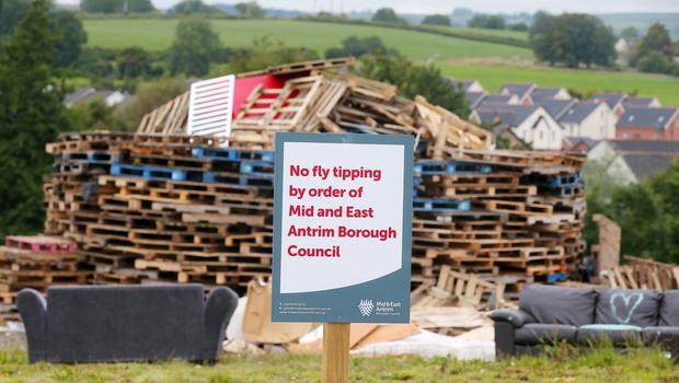 Press Eye - Belfast - Northern Ireland  - 8th July 2020  A bonfire in the precess of being built on the Linn Road in Larne, Co. Antrim,  ahead of the annual 11th night bonfire celebrations this weekend.    Picture by Jonathan Porter/PressEye