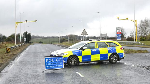 Presseye.com 06/03/2018 Police picture on the Bangor to Belfast road as an on going incident is being dealt with at Ballyrobert.  Mandatory Credit © Stephen Hamilton