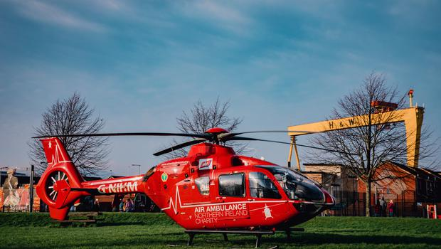 Northern Ireland Air Ambulance at the scene on an incident in East Belfast on March 1st 2021 (Photo by Kevin Scott for Belfast Telegraph)