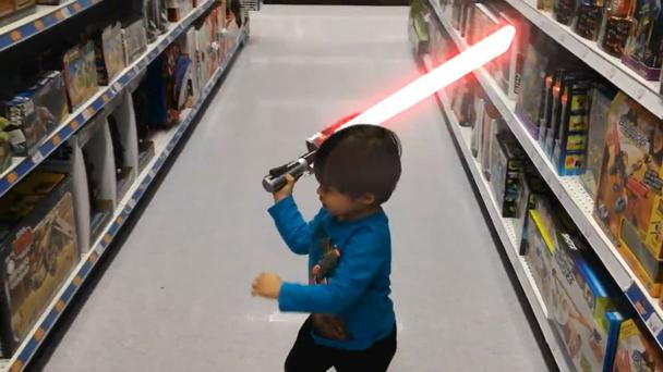 Daniel Hashimoto posted a series of 10-second videos featuring son James, including one of him causing mayhem with a lightsaber in a toy store