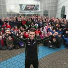 PACEMAKER, BELFAST, 9/12/2016: World Superbike champion Jonathan Rea was welcomed to his home town of Ballyclare by a huge crowd as he attended a special homecoming event hosted by Mayor of Antrim and Newtownabbey Borough Council, Cllr John Scott at the Six Mile Leisure centre today. PICTURE BY STEPHEN DAVISON
