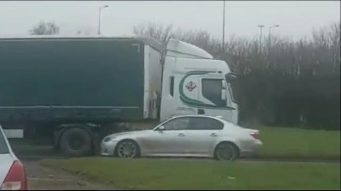 e4f7f0ff43dabb Video  Lorry going wrong way through Sandyknowes roundabout -  BelfastTelegraph.co.uk